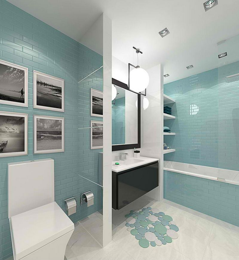 This narrow modern bathroom in turquoise color scheme is - Salle de bain beige et turquoise ...