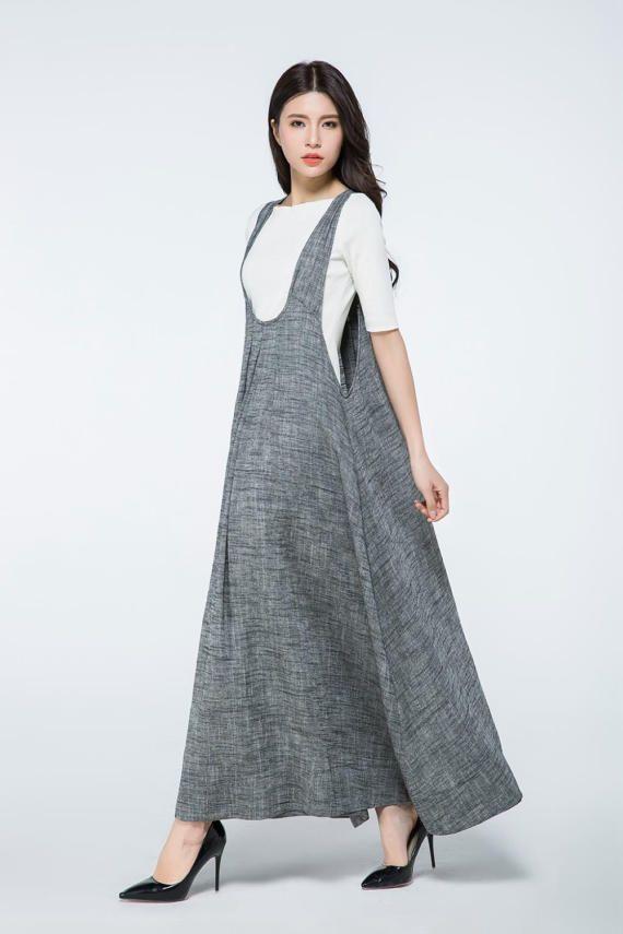 Insgesamt Kleid lang, Leinen Kleid Taschen, Pinafore Kleid ...