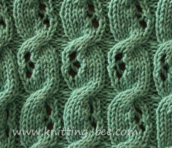 Knit Cable Stitch Pinterest : Free Eyelet Cable Knitting Stitch http://www.knitting-bee.com/knitting-patter...
