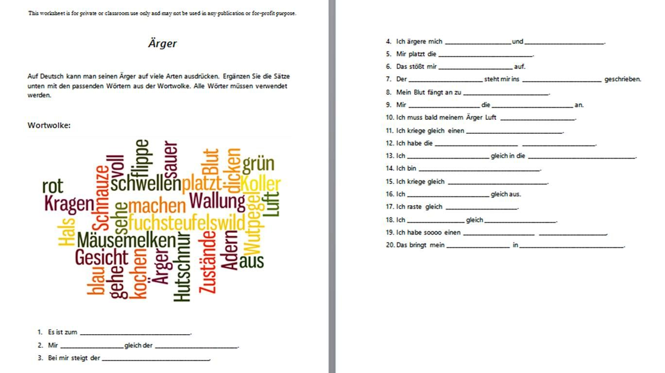 New Advanced Level Worksheet About German Idioms That