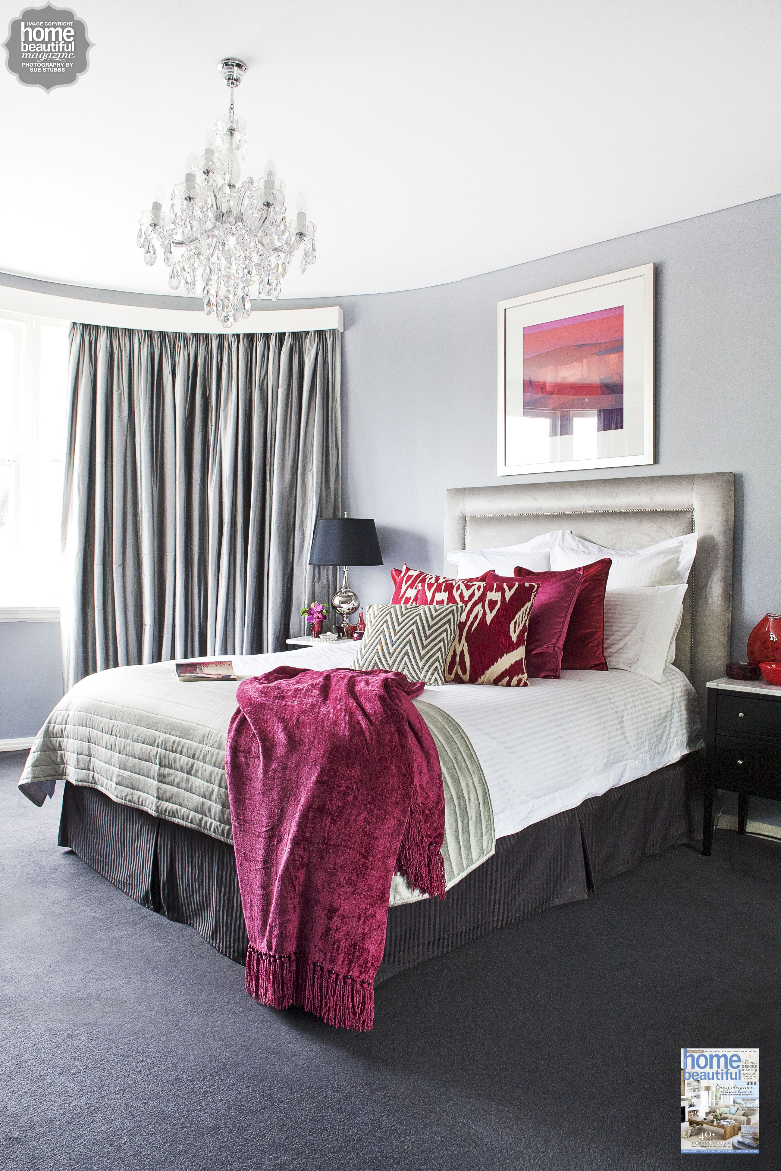 Rich Burgundy Touches Add Glamour To This Sydney Bedroom Grey