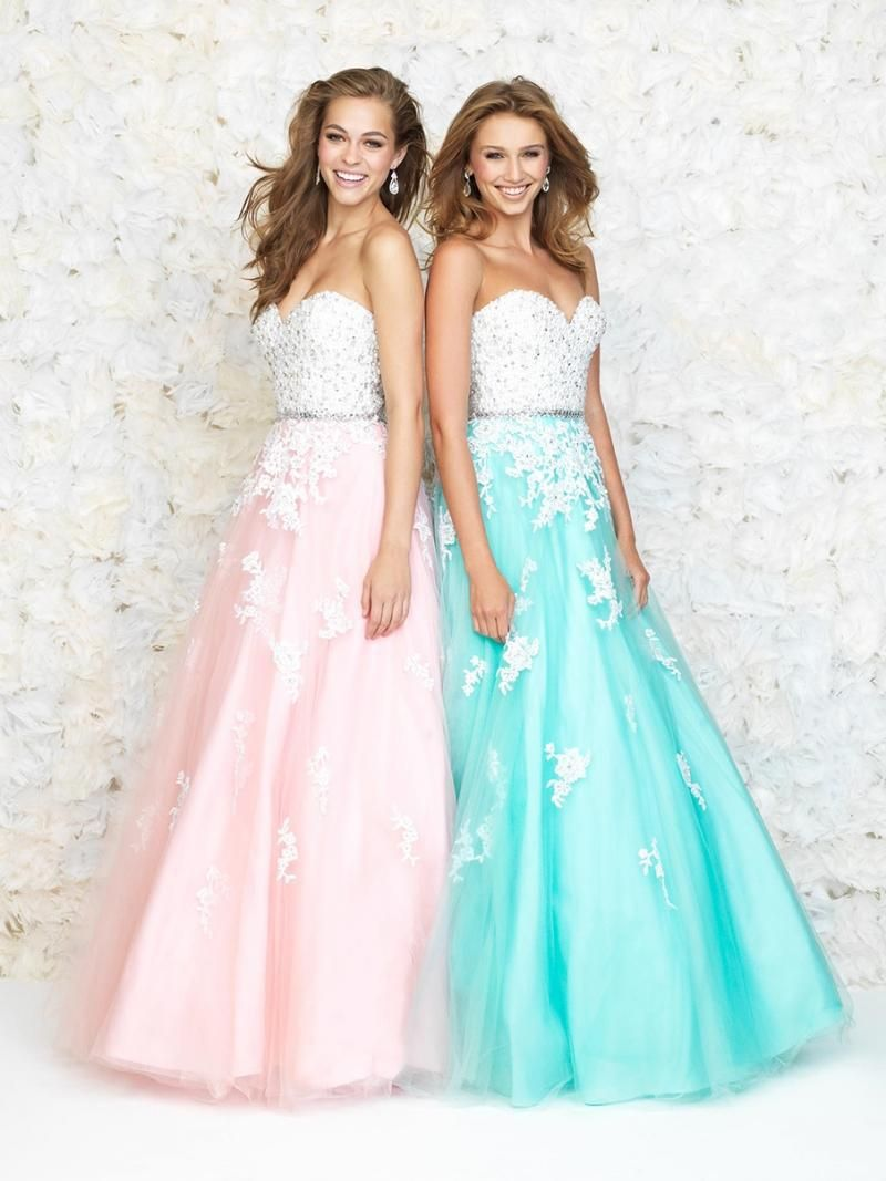 2016 Pink and Blue Lace Long Prom Dresses Sweetheart Floor-Length Party Dresses Beaded Appliqued Formal Dresses