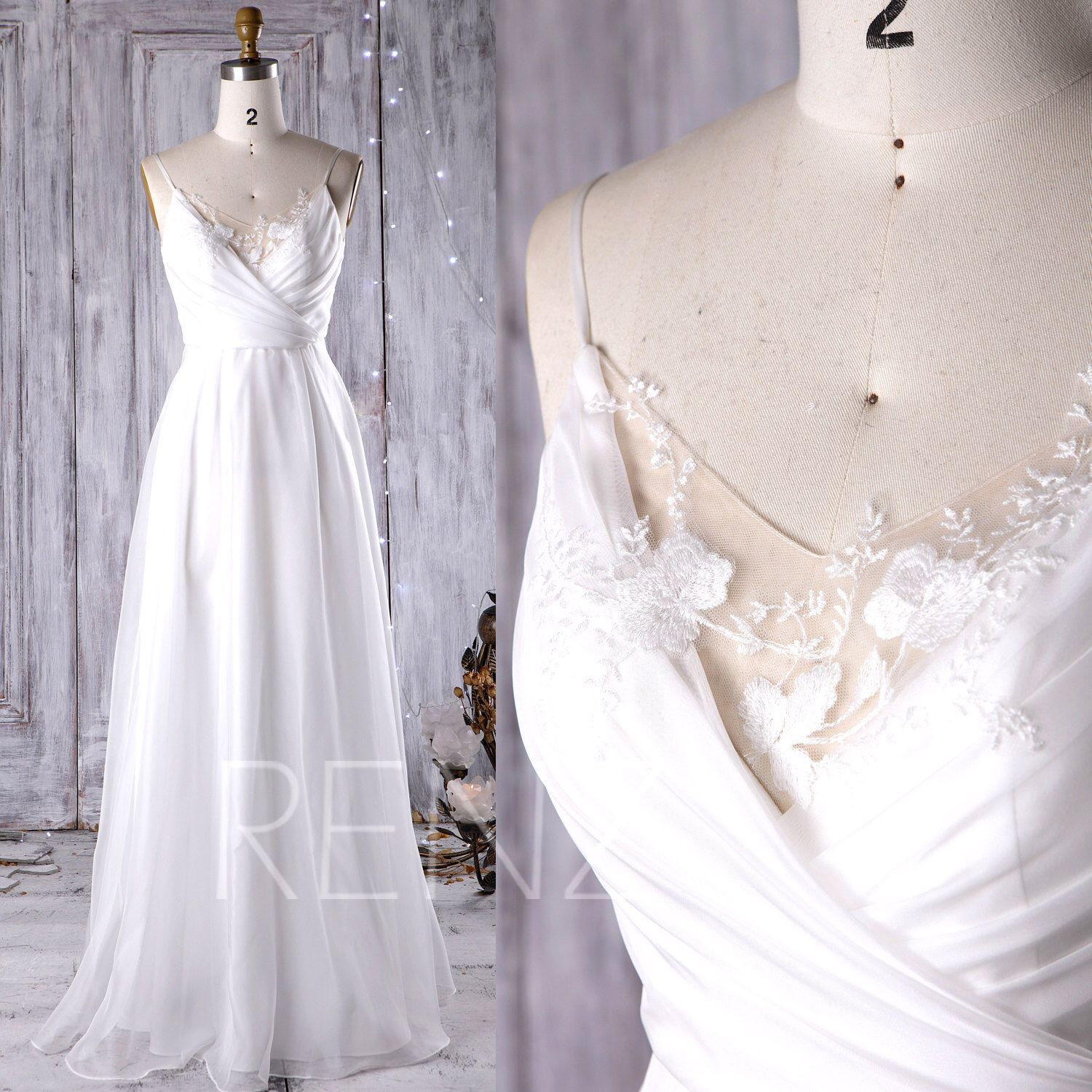 Off white chiffon bridesmaid dress v neck lace wedding dress