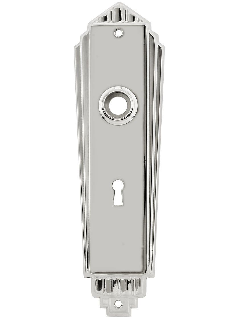 Door Knob Plates. Art Deco Back Plate In Polished Nickel Finish