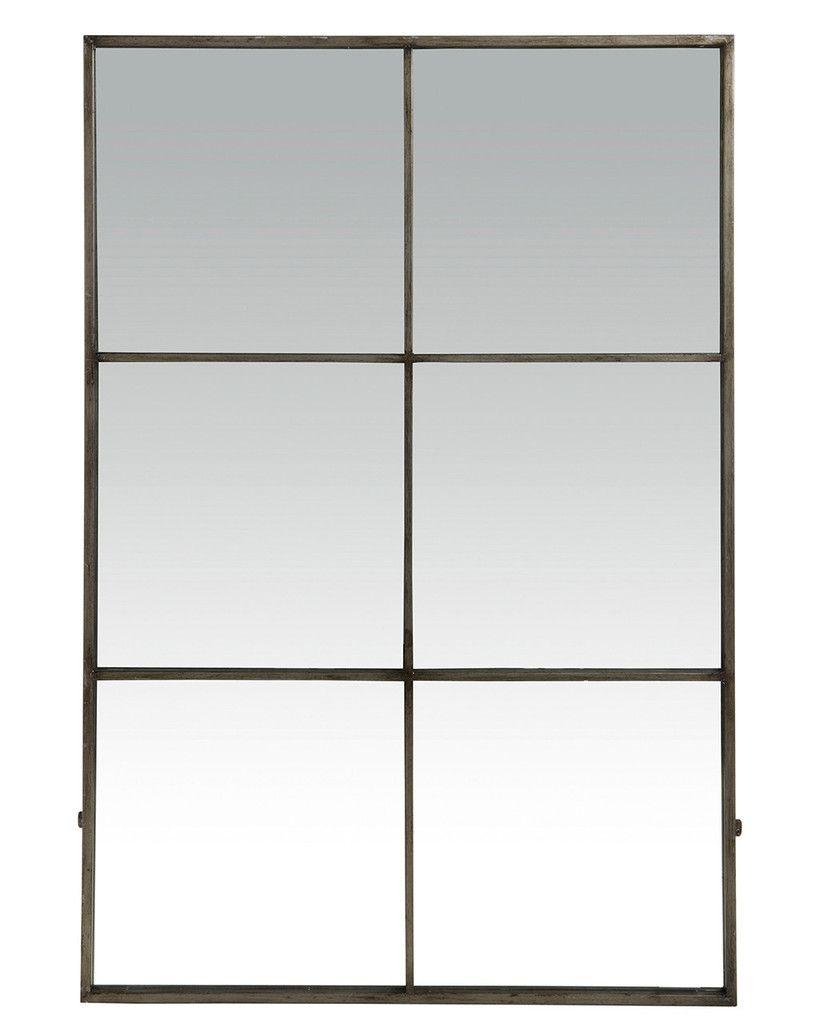 Large Window Frame Mirror - Antique Silver Frame H:118cm | Home ...