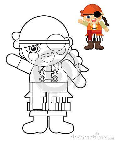 Niña de dibujos animados - muñeca - página para colorear para niños ...