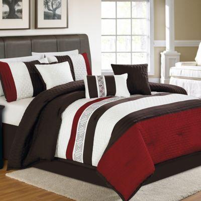 Zander 7 Piece Comforter Set In Redblack Bedbathandbeyondcom
