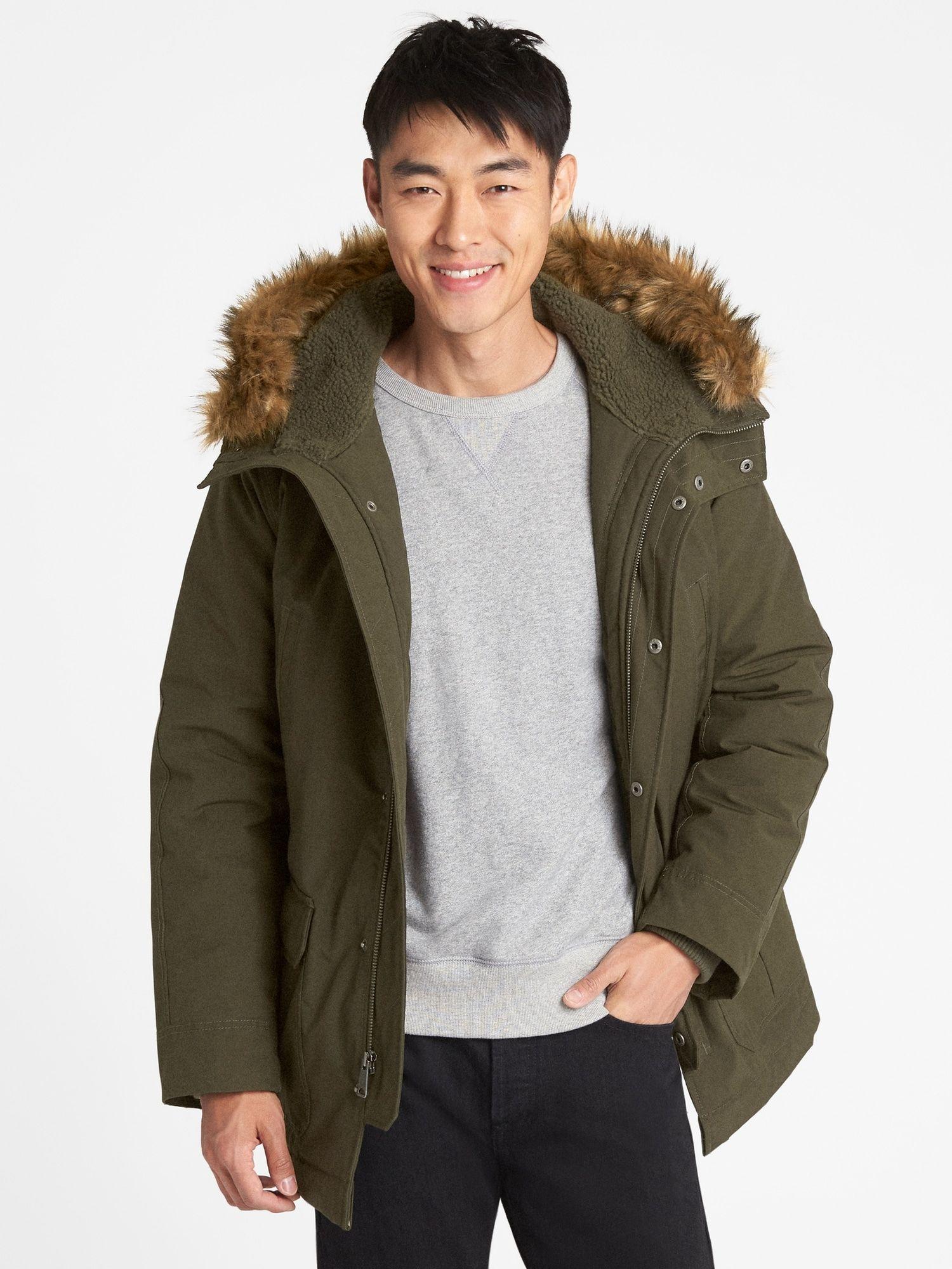 Hooded Parka Jacket With Faux Fur Trim Gap Hooded Parka Jacket Hooded Parka Parka Jacket [ 2000 x 1500 Pixel ]