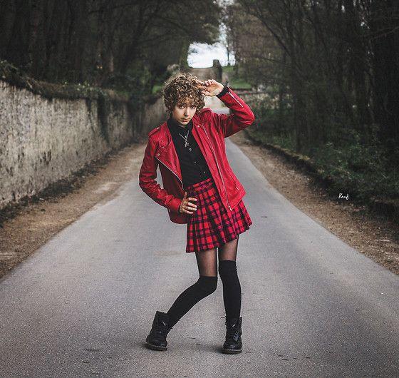 Get this look: http://lb.nu/look/6105955  More looks by Sofia R: http://lb.nu/user/3163837-Sofia-R  Items in this look:  123 Red Biker Jacket, Calvin Klein Black Shirt, High Socks, Dr. Martens Black Boots