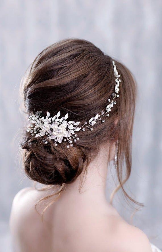 Pin By Barbara Blair On Kẹp Toc In 2020 Crystal Wedding Hair Accessories Gold Hair Piece Bridal Hair Pieces