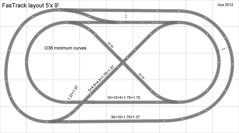 5\'x10\' FasTrack layout complete (for now!) | trains | Pinterest ...