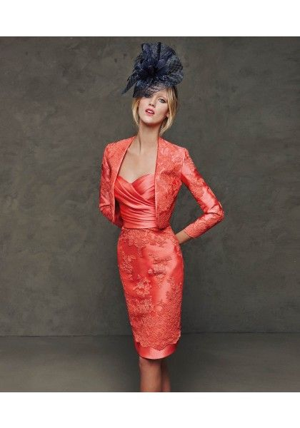 Sweetheart Knee Length Coral Lace Sheath Column Mother Of The Bride Dress With Jacket B2pr0018