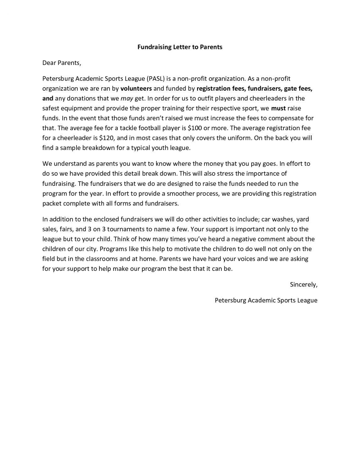 Sample 10 Fundraising Letters Ideas Fundraising Letter Team In Training Sample Fundraising L Fundraising Letter Sample Fundraising Letters Letter To Parents