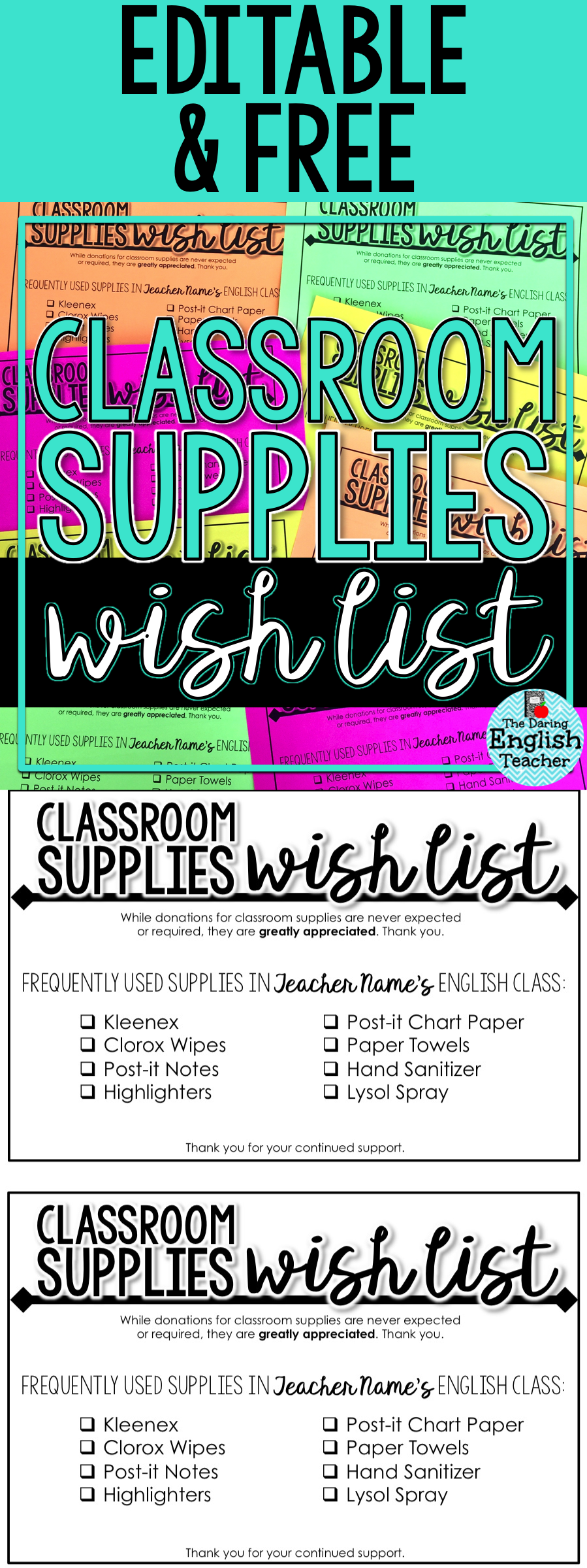 Classroom Supplies Wish List: Editable Supply List for Secondary ELA