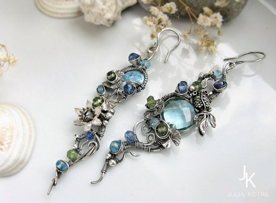 Asymmetrical wire wrapped silver dangle earrings by JewelryJS, stunning