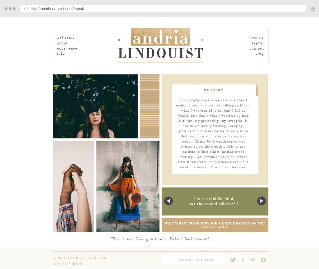 About Me page examples | Career and Marketing: Branding Examples ...
