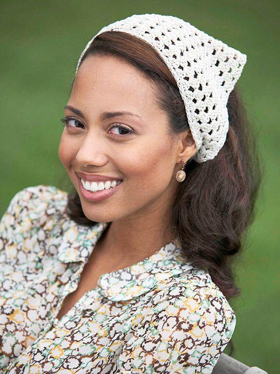 Quick Crocheted Kerchief | Adult Headwraps/Headbands | Pinterest