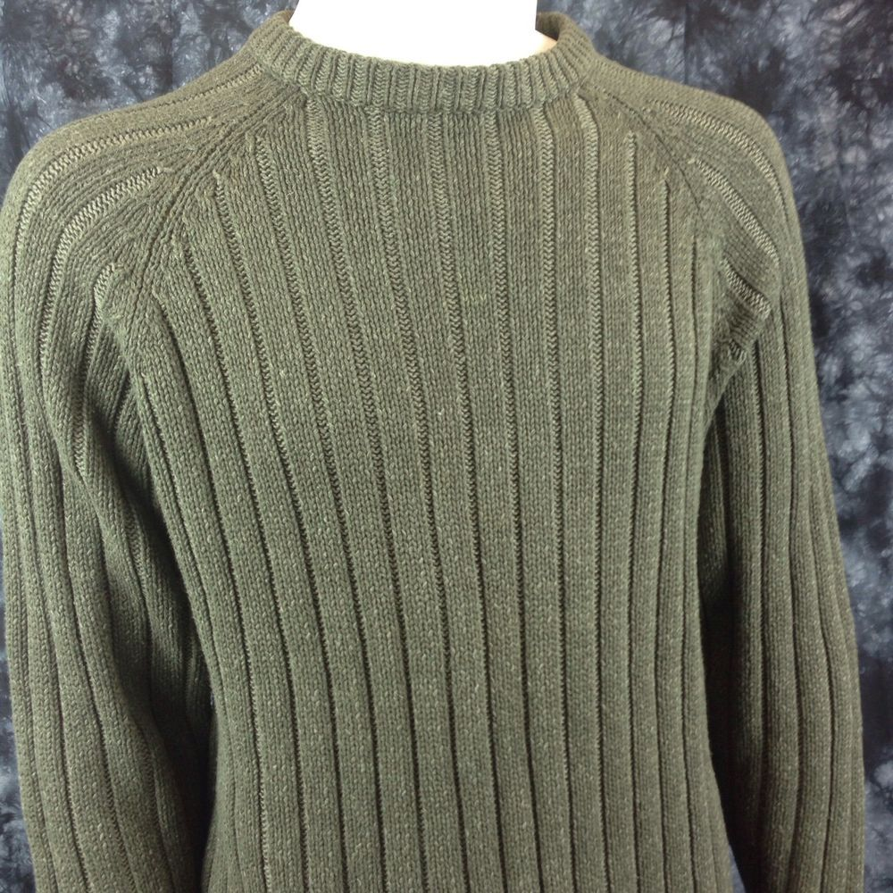 Woolrich Men Size Medium Olive Green Fishing Hunting Sweater Cotton