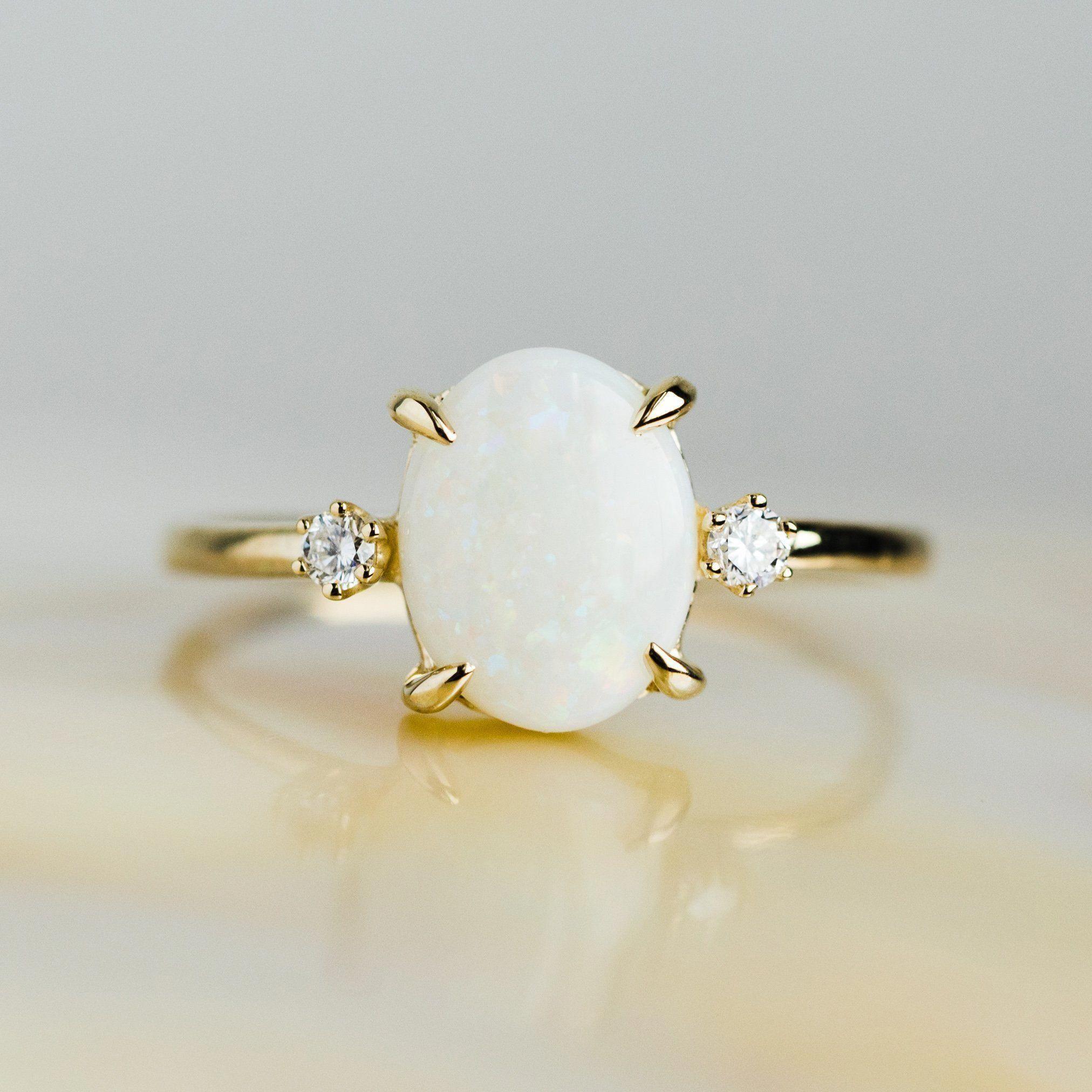 Australian Opal Ring with Diamonds beautyboard