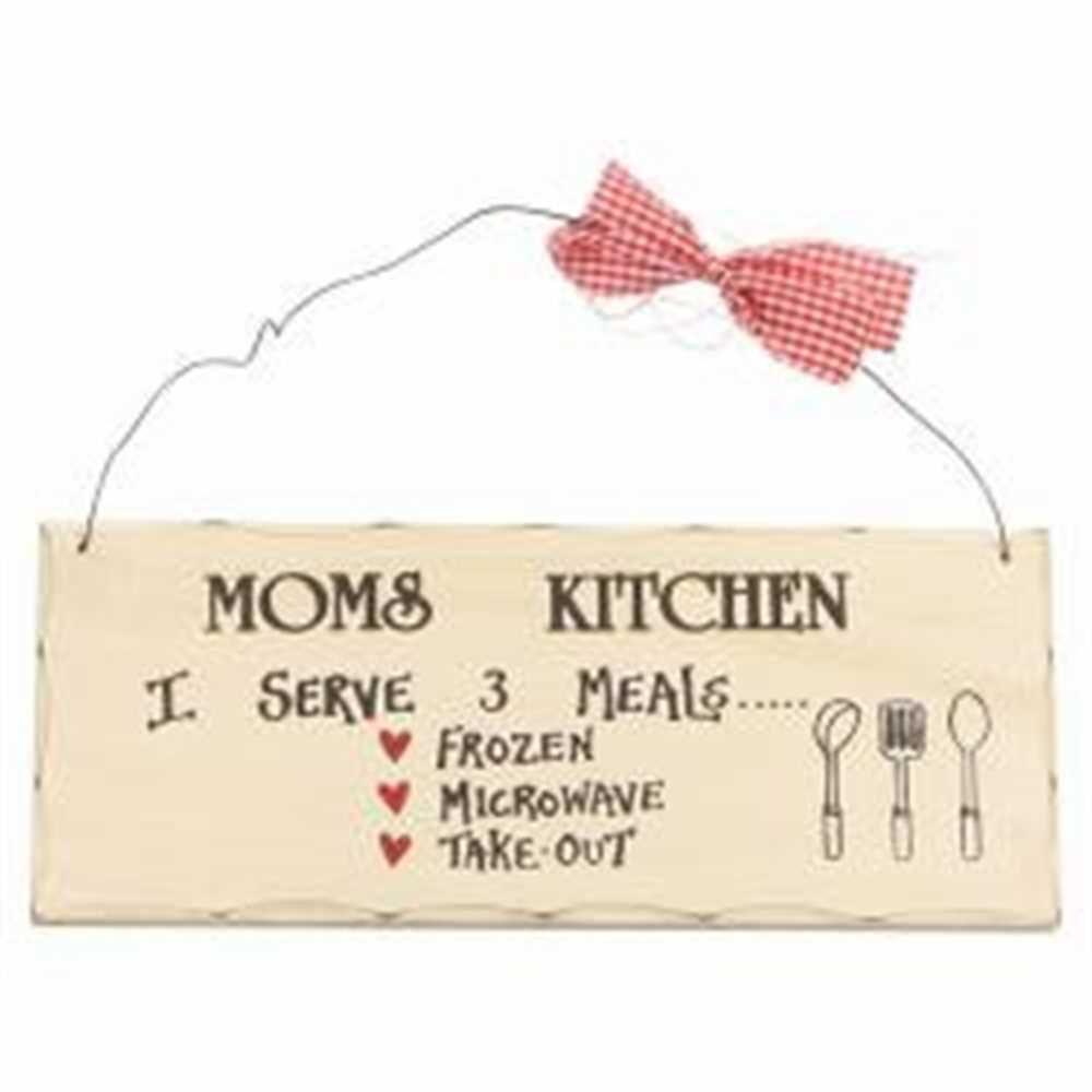 Wooden Sign Decor 10x4 In. Moms Kitchen I Serve 3 Meal Frozen ...
