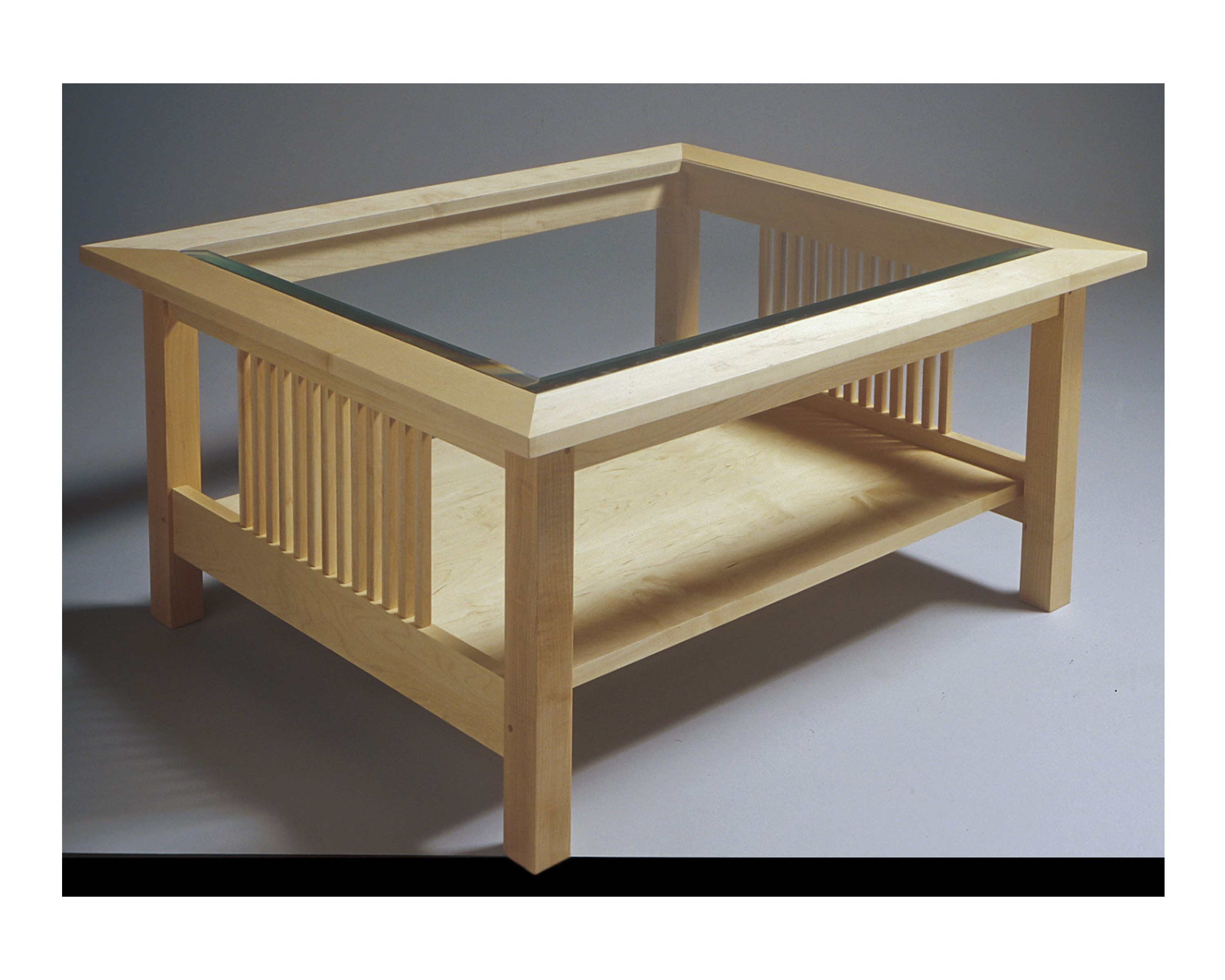 Glass top table solid hard maple construction
