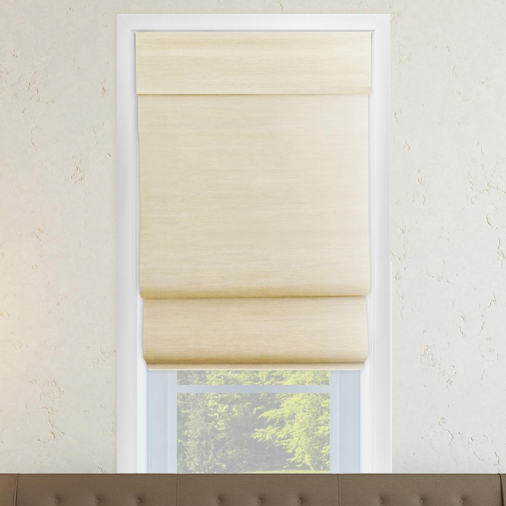 Chicology Abaca Cream Cordless Light Filtering Uv Protection Polyester Roman Shades 39 In W X 64 In L Clrmac3964 The Home Depot Natural Weave Shades Blinds Curtains With Blinds