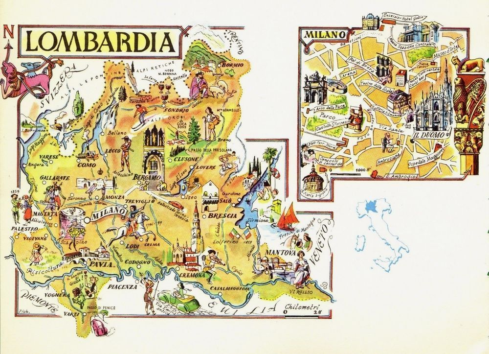 Vintage Lombardy Italy Map Picture Map Artistic Pictorial Map Fra