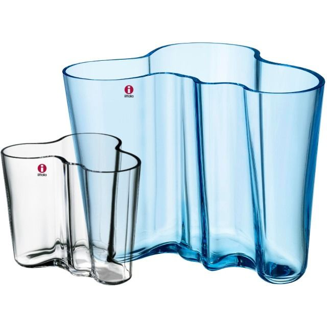 iittala Alvar Aalto, vase set 160 + 95 mm, light blue & clear