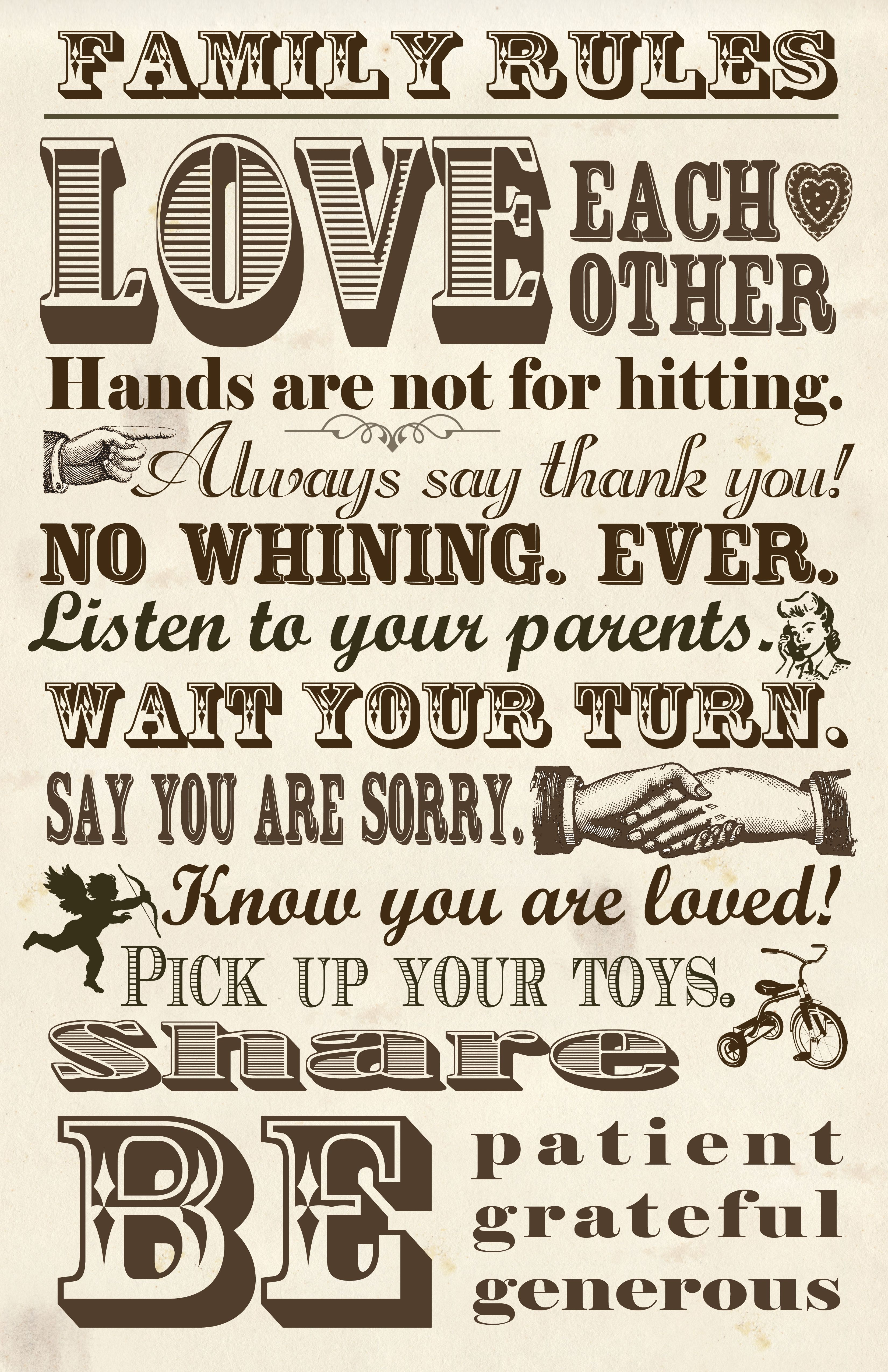 FAMILY RULES 3 LIFE INSPIRATIONAL PRINT // MOTIVATIONAL QUOTE POSTER