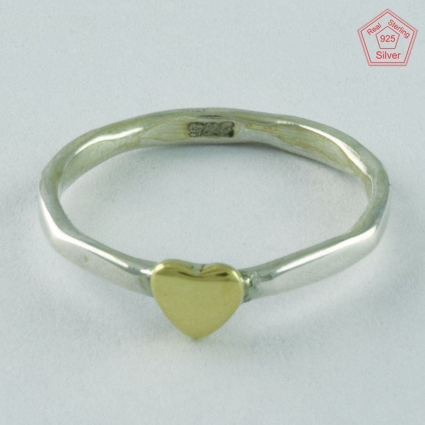 SINGLE HEART DESIGNER SOLID 925 STERLING SILVER & BRASS RING R5765 #SilvexImagesIndiaPvtLtd #Statement #AllOccasions