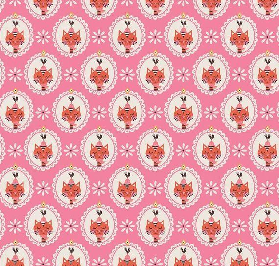Cotton Fabric  Fat Quarter Riley Blake Vintage Kitchen Cats Pink