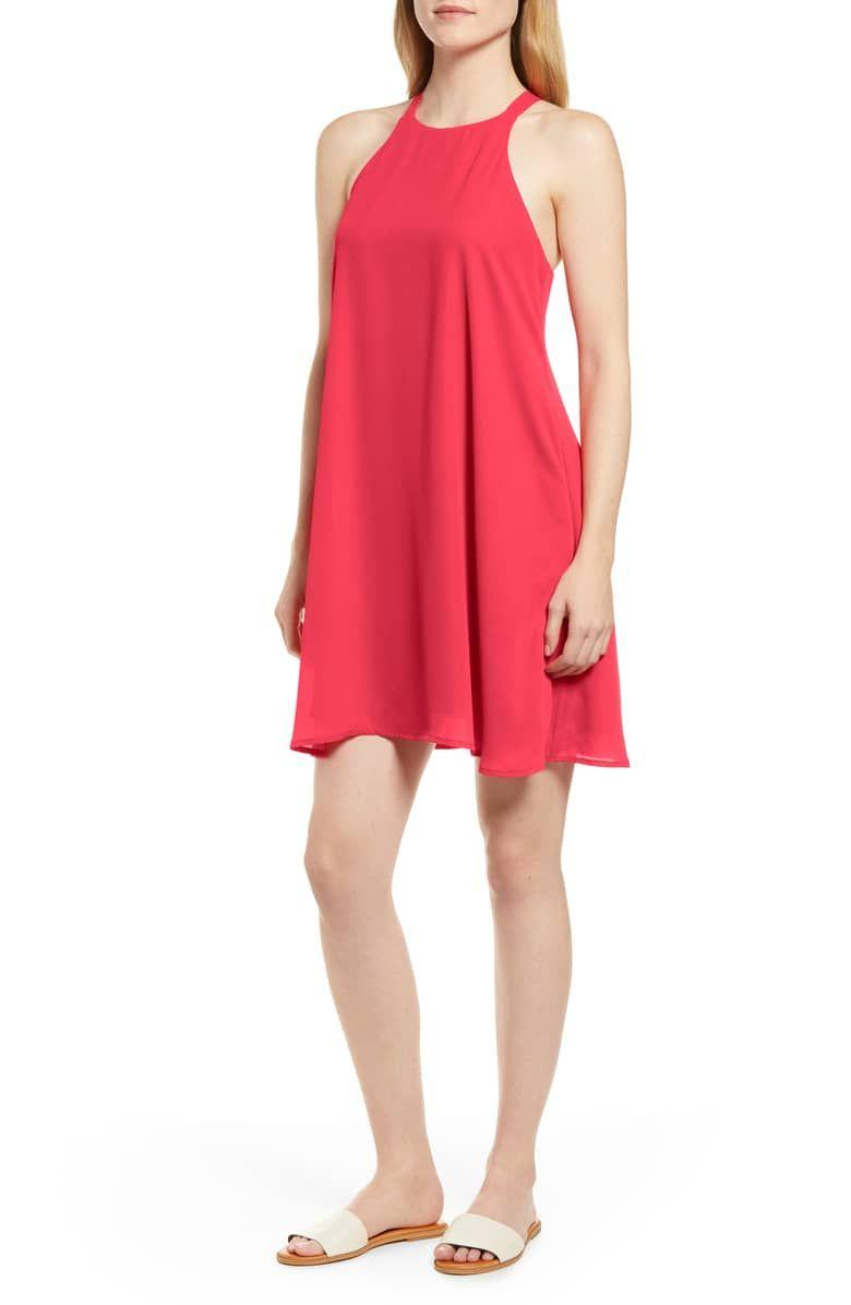 8ce988b68cc4 x Hi Sugarplum! Naples Swing Halter Dress, Main, color, HIBISCUS ...