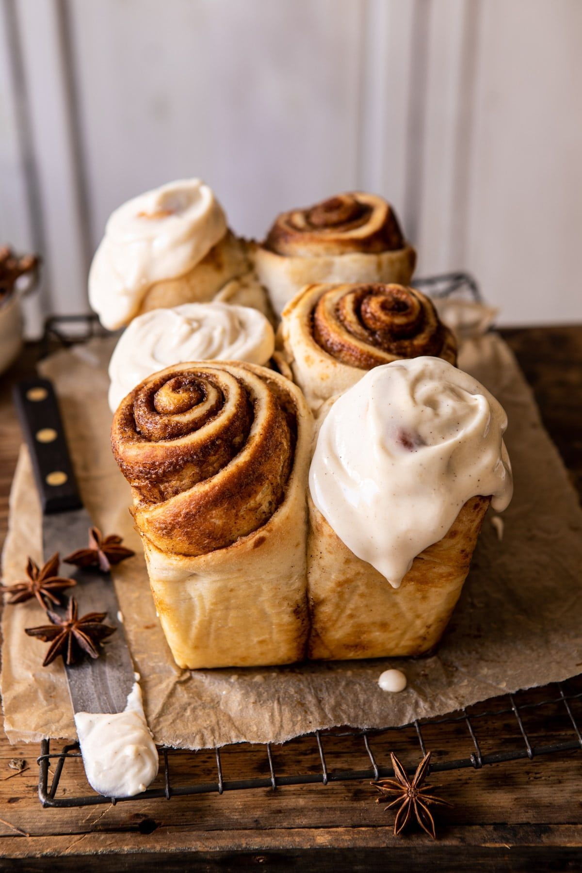 Overnight Cinnamon Roll Bread with Chai Frosting.