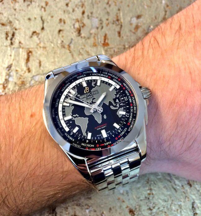 Đồng hồ Breitling Galactic Unitime 44 Thép Mặt Số Đen