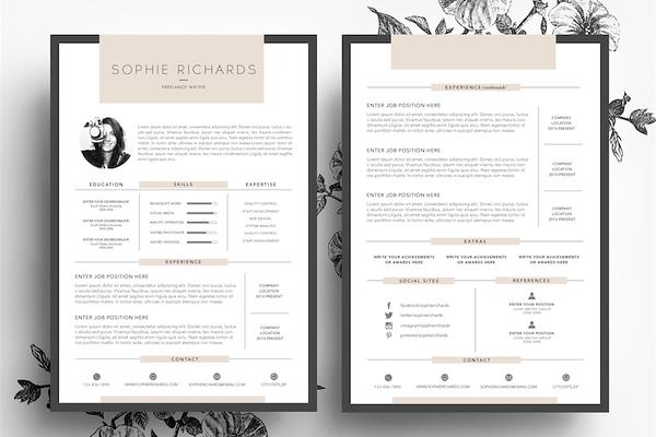 3 Page Cv Template Business Card Bewerbung Lebenslauf Kreative Lebenslaufvorlagen Lebenslauf Layout