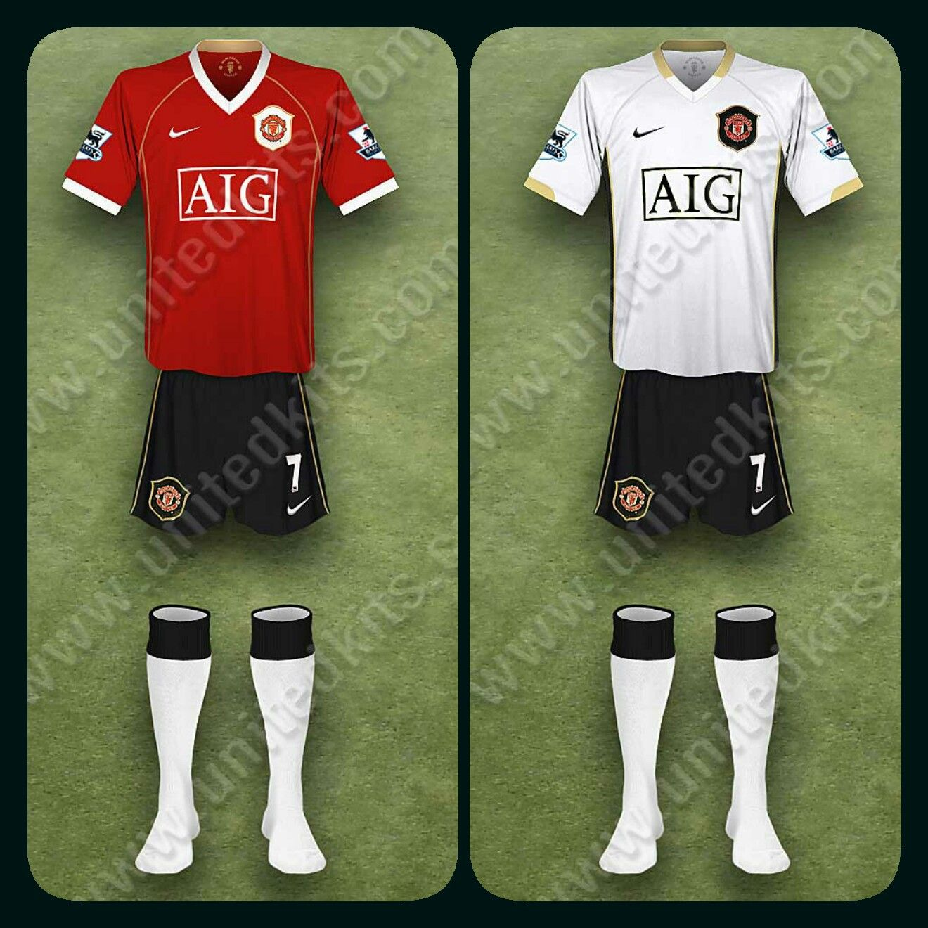 bcd728550 Man Utd home kit (with black shorts and white socks) and the away kit for  2006-07.