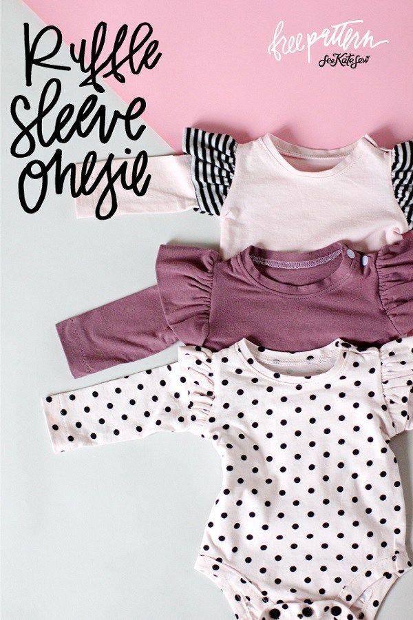 Free pattern: Ruffle sleeve baby onesie   Pinterest   Ruffle sleeve ...