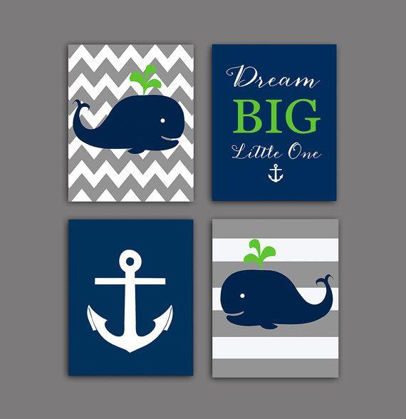 Nautical Nursery Wall Decor Whale Art Print Baby Shower Gift Gray Navy Green 8x10 Printable Dream Little One