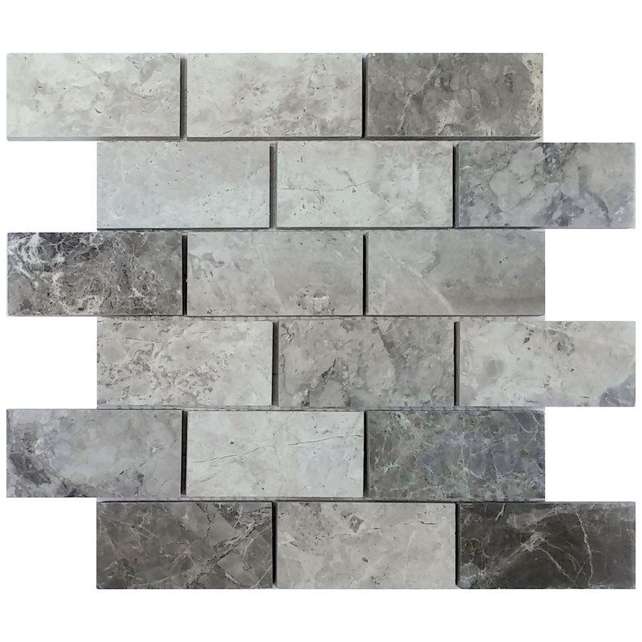 Shop Avenzo 12 In X Valensa Gray Polished Mosaic Floor Tile At