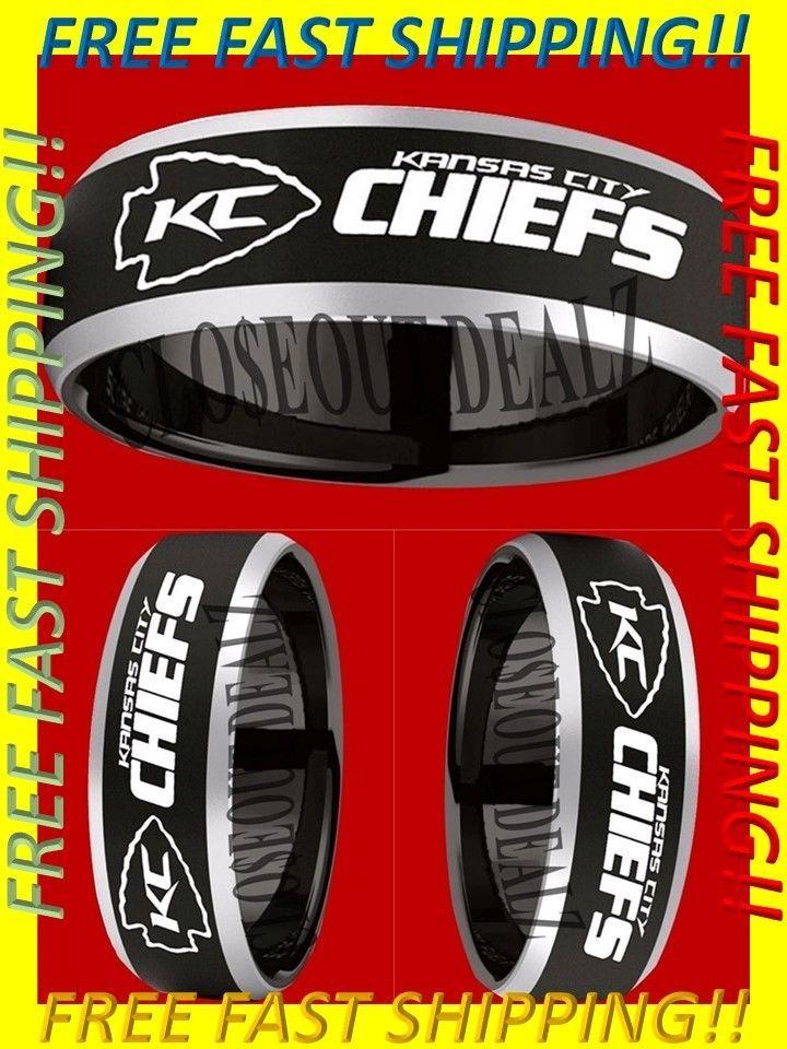Kansas City Chiefs Ring Wedding Ring 8mm Black Tungsten Wedding