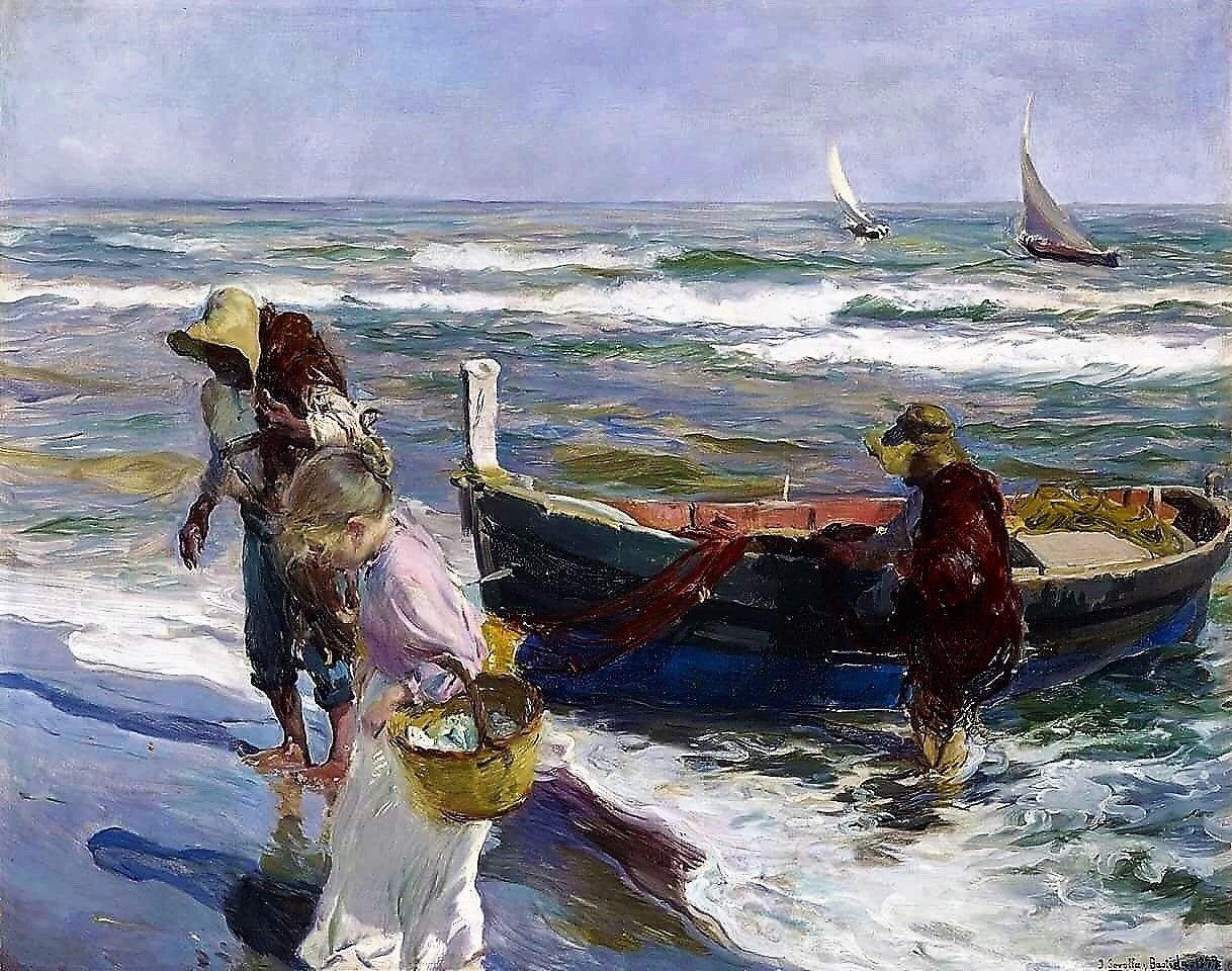 Fisherman On The Beach Cross Stitch Pattern Cross Stitch Etsy Art Painting Art Painting