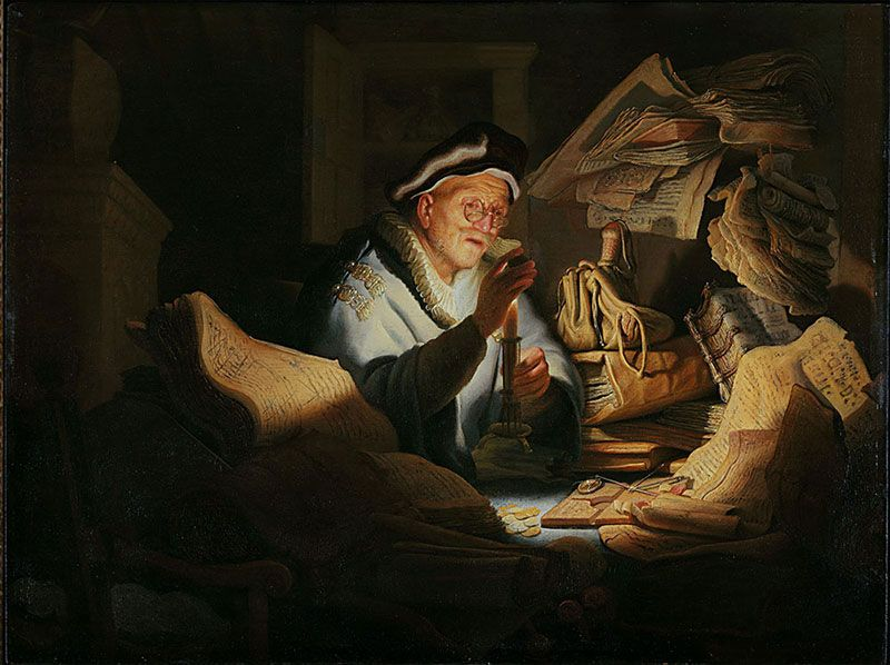 Rembrandt van Rijn, Moneychanger, 1627, oil on panel, 32 x 42 cm. Gemäldegalerie, Berlin