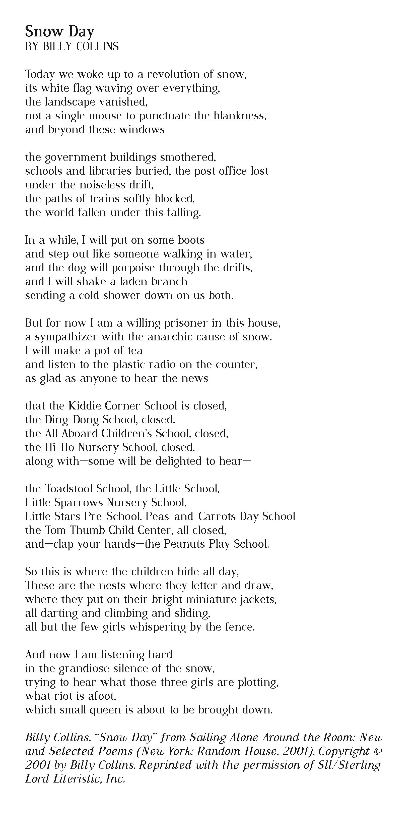 Sailing Alone Around The Room Billy Collins Poem