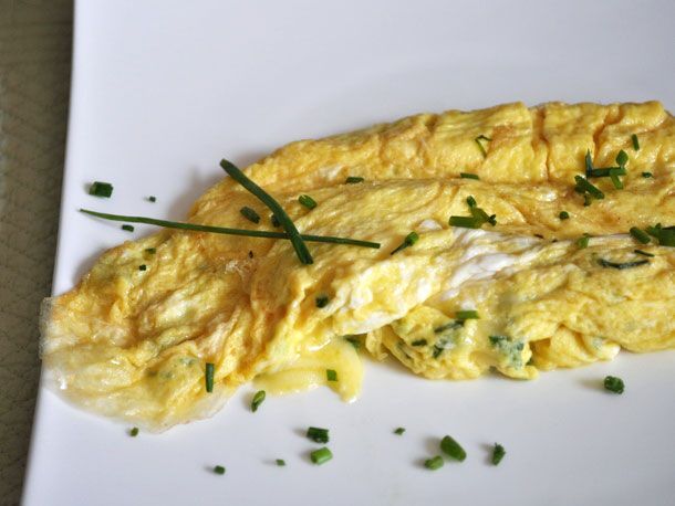 Gruyère Chive Omelette...Don't know how good it is for you, but I think I will have to try this!!