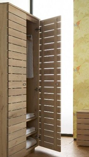 Slatted Cupboard Doors   Option For Smaller Narrow Cupboard Idea By The  Washer