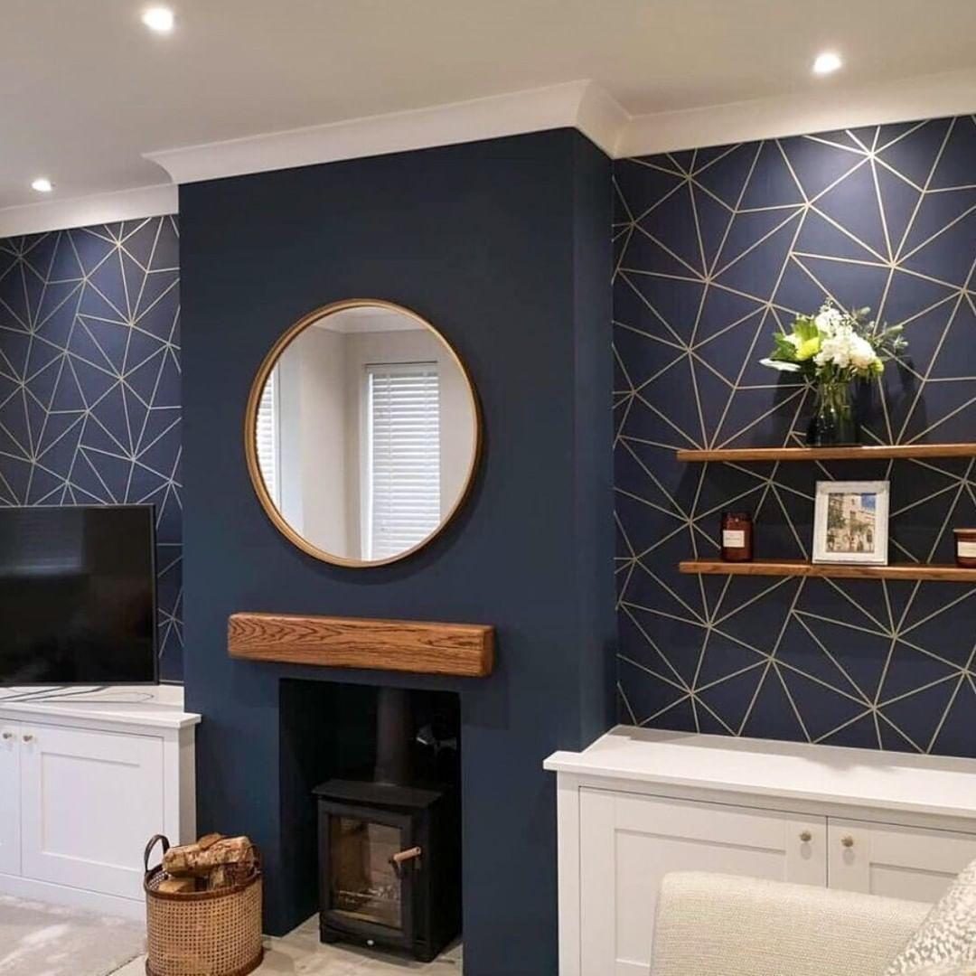 Most Unique Blue Wallpaper Bright And More 459409730 Bluewallpaper Wall Blue Wallpaper Living Room Yellow Living Room Accessories Comfy Living Room Design