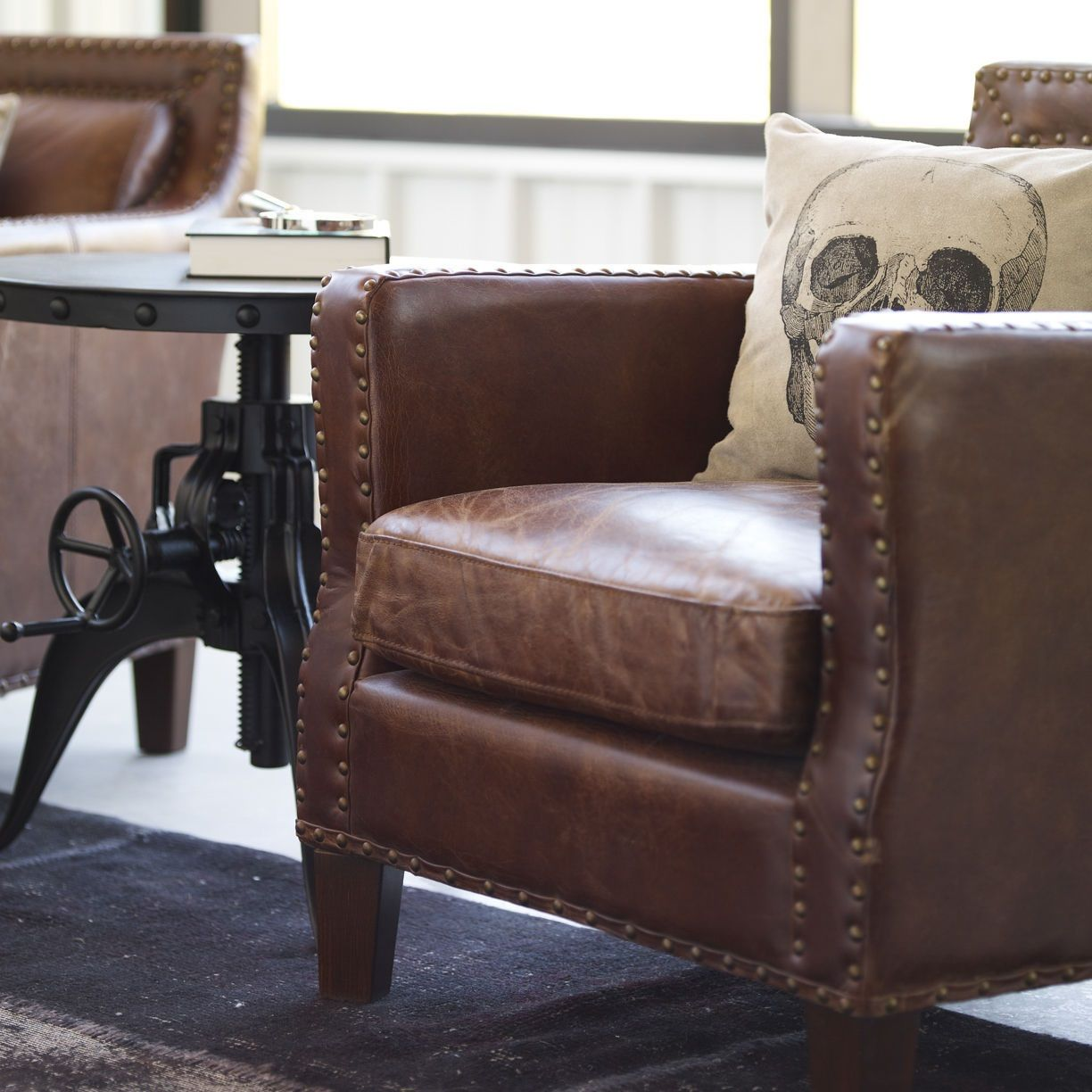 Boardroom Furniture For Sale: Alcott Vintage Cigar Distressed Leather Club Arm Chair