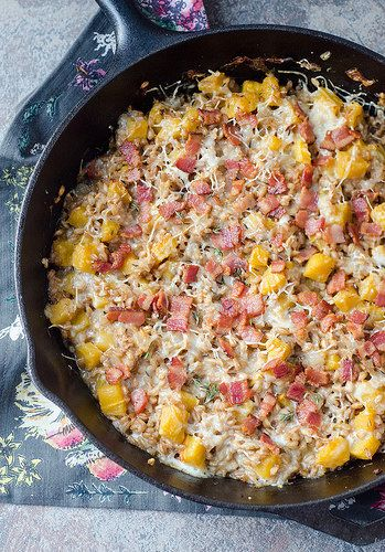 cheesy baked farro with butternut squash and bacon from ina garten bake it in - Ina Garten Baked Bacon