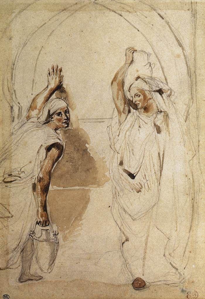 Eugene Delacroix Deux Femmes Dans Un Bain Aquarelle 27 X 19