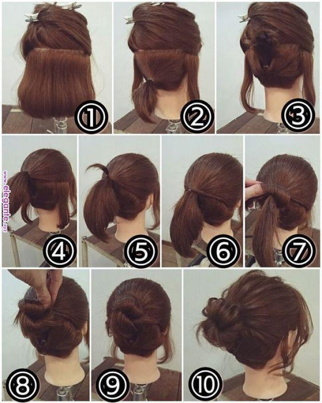 Easy Bun Frisur für kurzes Haar Easy Bun Frisur für kurzes ...